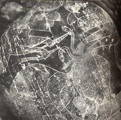 Pierre d'Ica. Des serpents sont extraits de la tête d'un patient