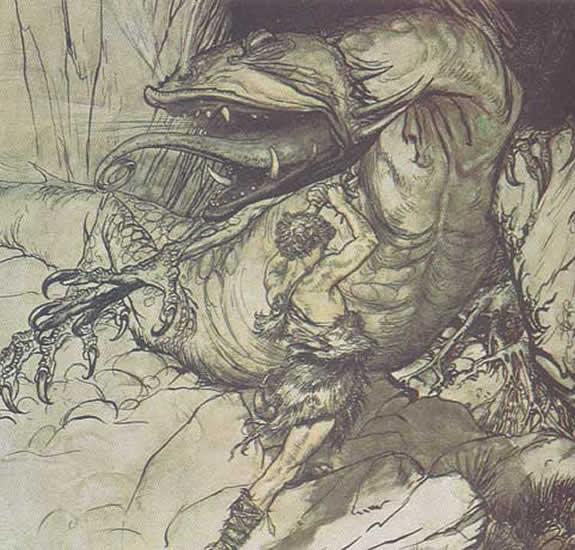 Siegfried qui combat le Dragon
