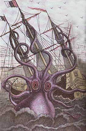 Une pieuvre géante attaquant un navire