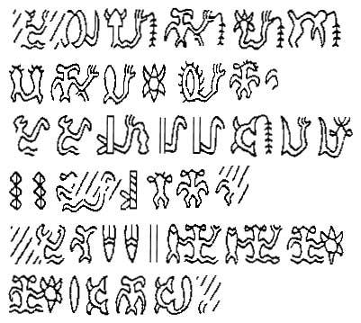 Rongorongo. Ecriture de l'ile de Pâques
