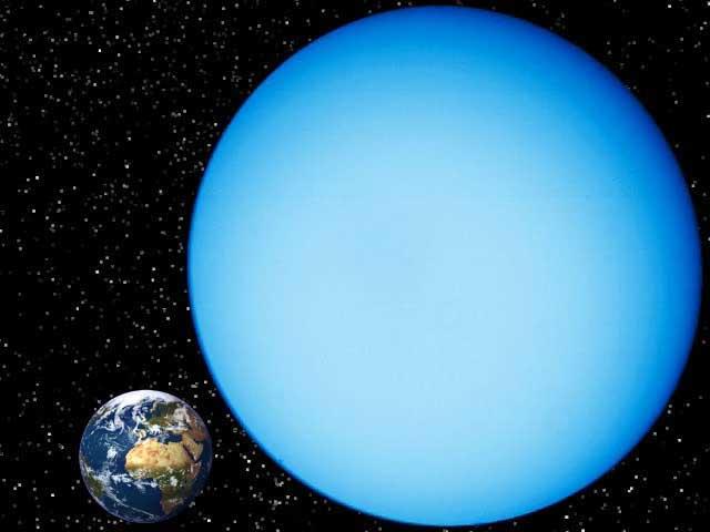 'Comparatif entre Uranus et la Terre' from the web at 'http://www.dinosoria.com/univers/uranus_terre.jpg'